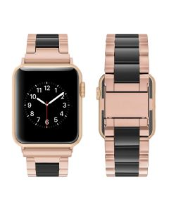Watch Strap Resin Stainless Steel With Metal Buckle Band Bracelet For Apple iWatch Series 42/44mm - Gold / Black