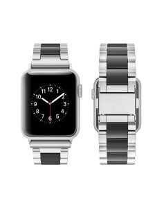Watch Strap Resin Stainless Steel With Metal Buckle Band Bracelet For Apple iWatch Series 42/44mm - Silver / White