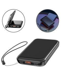 10000mAh Qi Wireless + Wired Charger 2-in-1 Power Bank USB Fast Charging Portable Battery Charger For Phone/Tab - Black