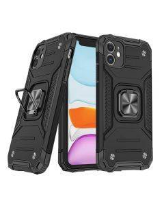 """Shockproof Armor Ring Case Magnetic Car Holder Heavy Duty Protective Case Cover For Apple iPhone 12 Mini 5.4""""- Black"""