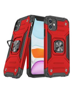 """Shockproof Armor Ring Case Magnetic Car Holder Heavy Duty Protective Case Cover For Apple iPhone 12 Mini 5.4""""- Red"""