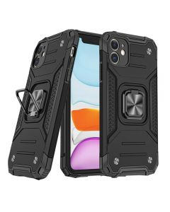"""Shockproof Armor Ring Case Magnetic Car Holder Heavy Duty Protective Case Cover For iPhone 12/iPhone 12 Pro 6.1""""- Black"""