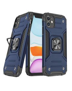 """Shockproof Armor Ring Case Magnetic Car Holder Heavy Duty Protective Case Cover For iPhone 12/iPhone 12 Pro 6.1""""- Blue"""
