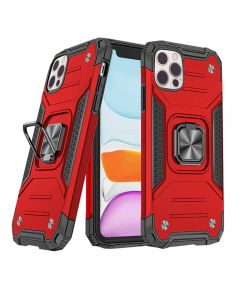 """Shockproof Armor Ring Case Magnetic Car Holder Heavy Duty Protective Case Cover For iPhone 12/iPhone 12 Pro 6.1""""- Red"""