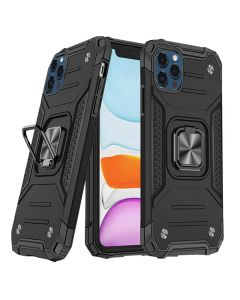 """Shockproof Armor Ring Case Magnetic Car Holder Heavy Duty Protective Case Cover For Apple iPhone 12 Pro Max 6.7""""- Black"""
