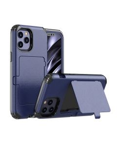 """Card Holder Rugged Shield Armor Hard Protective Cover Case With Kickstand For iPhone 12 6.1""""/ iPhone 12 Pro 6.1""""- Blue"""