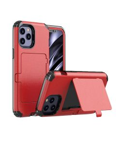 """Card Holder Rugged Shield Armor Hard Protective Cover Case With Kickstand For iPhone 12 6.1""""/ iPhone 12 Pro 6.1""""- Red"""