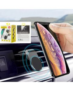 Universal 360 Degree Magnetic Car Mobile Phone Holder Stand Mini Air Vent Clip Mount Holder (H-CT318) - Silver