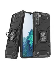 2-in-1 Armor Style Kickstand TPU + PC Shell Back Cover Case With Metal Ring Holder For Samsung Galaxy S21 5G - Black