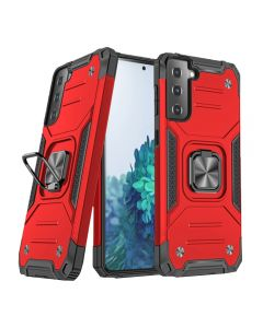 2-in-1 Armor Style Kickstand TPU + PC Shell Back Cover Case With Metal Ring Holder For Samsung Galaxy S21 5G - Red