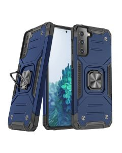 2-in-1 Armor Style Kickstand TPU + PC Shell Back Cover Case With Metal Ring Holder For Samsung Galaxy S21+ Plus 5G - Blue