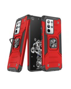 2-in-1 Armor Style Kickstand TPU + PC Shell Back Cover Case With Metal Ring Holder For Samsung Galaxy S21 Ultra 5G - Red