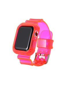 Transparent Rubber Sports Watch Strap Wristband + Protective Case For Apple Watch Series 1 2 3 4 5 6 (38mm/40mm) - Pink