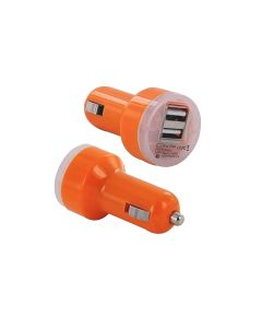 Universal 2 Port USB 2.1A 1.0A Car Fast Charger Adapter Socket Car Charger For Phone / Tablet - Orange