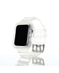 Transparent Rubber Sports Watch Strap Wristband + Protective Case For Apple Watch Series 1 2 3 4 5 6 (38mm/40mm) - Clear