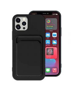 Shockproof Soft TPU Silicone Single Card Holder Phone Back Case Cover For Apple iPhone 12 / iPhone 12 Pro - Black