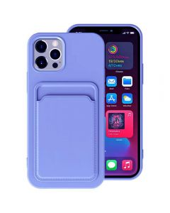 Shockproof Soft TPU Silicone Single Card Holder Phone Back Case Cover For Apple iPhone 12 / iPhone 12 Pro - Navy Blue
