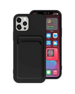 Shockproof Soft TPU Silicone Single Card Holder Phone Back Case Cover For Apple iPhone 12 Pro Max - Black