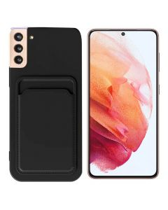 Shockproof Soft TPU Silicone Single Card Holder Phone Back Case Cover For Samsung Galaxy S21+ Plus - Black