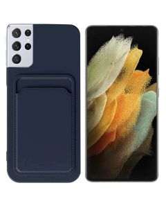 Shockproof Soft TPU Silicone Single Card Holder Phone Back Case Cover For Samsung Galaxy S21 Ultra - Black