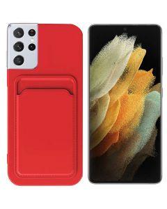 Shockproof Soft TPU Silicone Single Card Holder Phone Back Case Cover For Samsung Galaxy S21 Ultra - Pink