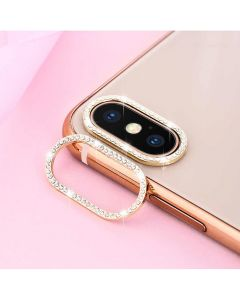 Glitter Rhinestone Camera Lens Film Protective Case Lens Protector For Apple iPhone XS Max - Black