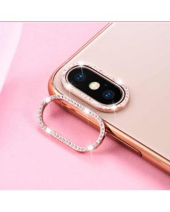 Glitter Rhinestone Camera Lens Film Protective Case Lens Protector For Apple iPhone XS Max - Rose Gold
