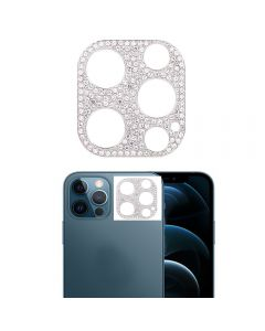 Glitter Rhinestone Camera Lens Film Protective Case Lens Protector For Apple iPhone 12 Pro - Silver