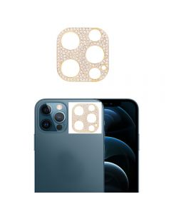 Glitter Rhinestone Camera Lens Film Protective Case Lens Protector For Apple iPhone 12 Pro - Gold