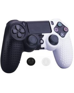 Studded Dots Silicone Rubber Gel Controller Protective Case Cover For Sony PS4 Dualshock 4 DS4 Controller - White/Black