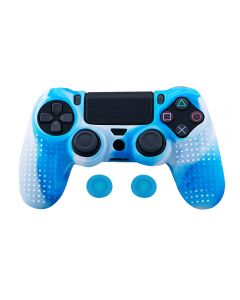 Studded Dots Silicone Rubber Gel Controller Protective Case Cover For Sony PS4 Dualshock 4 DS4 Controller - Blue/White