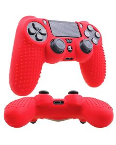Studded Dots Silicone Rubber Gel Controller Protective Case Cover For Sony PS4 Dualshock 4 DS4 Controller - Blue/Red