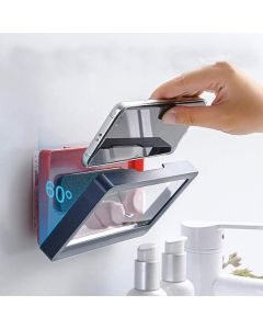 Wall Mounted Shower Phone Holder Waterproof Shower Touch Screen Phone Storage Box For Home Bathroom Kitchen - Blue