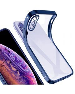 Luxury Plating Clear Case Ultra-thin Slim Transparent Fashion Back Cover Case For Apple iPhone X (10) / iPhone XS - Blue