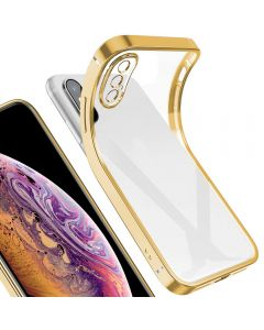 Luxury Plating Clear Case Ultra-thin Slim Transparent Fashion Back Cover Case For Apple iPhone X (10) / iPhone XS - Gold