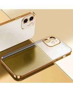 Luxury Plating Clear Case Ultra-thin Slim Transparent Fashion Back Cover Case For Apple iPhone 12 - Gold