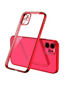 Luxury Plating Clear Case Ultra-thin Slim Transparent Fashion Back Cover Case For Apple iPhone 12 - Red