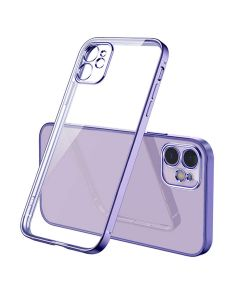 Luxury Plating Clear Case Ultra-thin Slim Transparent Fashion Back Cover Case For Apple iPhone 12 - Purple