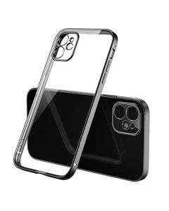 Luxury Plating Clear Case Ultra-thin Slim Transparent Fashion Back Cover Case For Apple iPhone 12 - Black