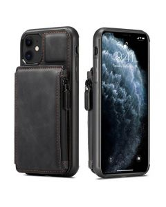 PU Leather Zipper Card Holder Wallet Back Case Cover For Apple iPhone 11 - Black