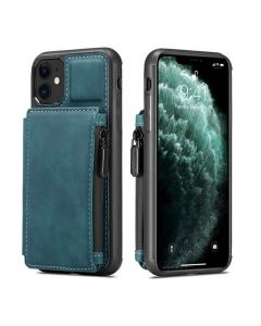 PU Leather Zipper Card Holder Wallet Back Case Cover For Apple iPhone 11 - Blue