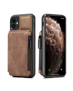 PU Leather Zipper Card Holder Wallet Back Case Cover For Apple iPhone 11 - Brown