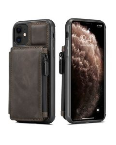 PU Leather Zipper Card Holder Wallet Back Case Cover For Apple iPhone 11 - Coffee
