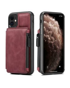 PU Leather Zipper Card Holder Wallet Back Case Cover For Apple iPhone 12 Mini - Red