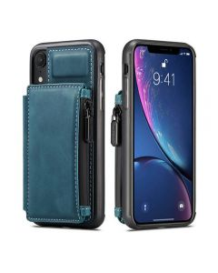 PU Leather Zipper Card Holder Wallet Back Case Cover For Apple iPhone XR - Black