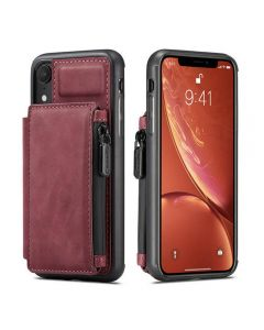 PU Leather Zipper Card Holder Wallet Back Case Cover For Apple iPhone XR - Coffee