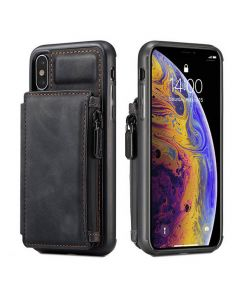 PU Leather Zipper Card Holder Wallet Back Case Cover For Apple iPhone X (10) / iPhone XS - Black