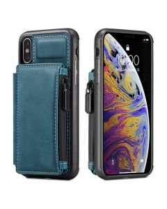 PU Leather Zipper Card Holder Wallet Back Case Cover For Apple iPhone X (10) / iPhone XS - Blue