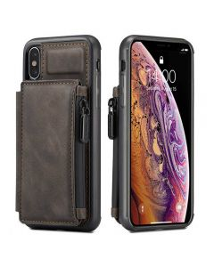 PU Leather Zipper Card Holder Wallet Back Case Cover For Apple iPhone X (10) / iPhone XS - Coffee
