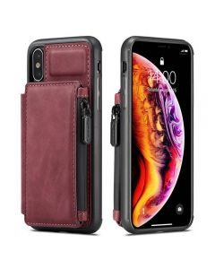 PU Leather Zipper Card Holder Wallet Back Case Cover For Apple iPhone X (10) / iPhone XS - Red